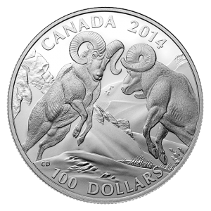 $100 for $100 Bighorn Sheep Fine Silver Coin