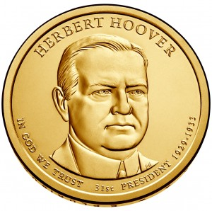 2014 Herbert Hoover Presidential $1 Coin Obverse (US Mint image)